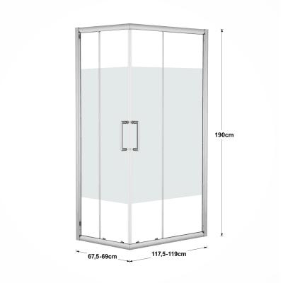 Box doccia scorrevole Quad 67.5-69 x 117,5-119, H 190 cm cristallo 6 mm serigrafato/silver