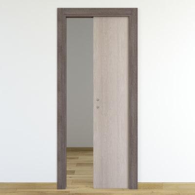 Porta da interno scorrevole One frassino/brown 80 x H 210 cm reversibile