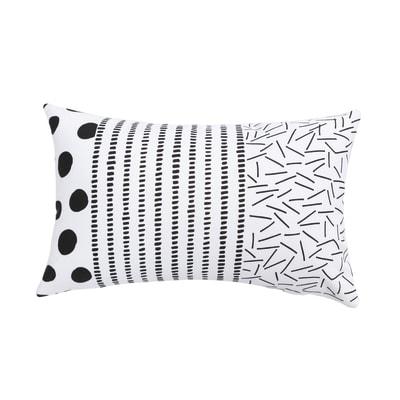 Cuscino Kikou bianco e nero 50 x 30 cm