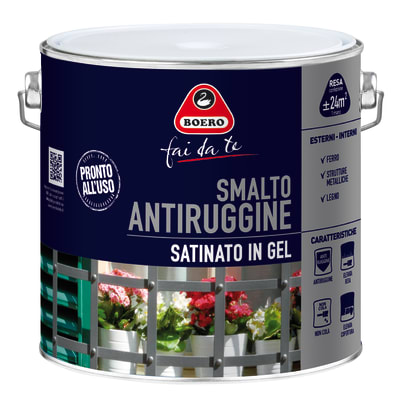 Smalto per ferro antiruggine nero satinato 2 L