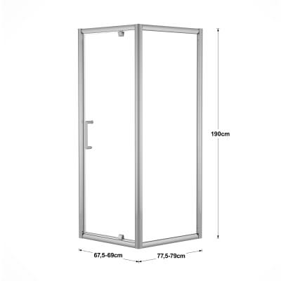 Doccia con porta battente e lato fisso Quad 67.5 - 69 x 77.5 - 79 cm, H 190 cm cristallo 6 mm trasparente/silver