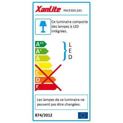 Kit 3 faretti ad incasso LED integrato bianco orientabile rotondo Ø 8,6 cm 3 x 5,6 W = 345 Lumen luce calda