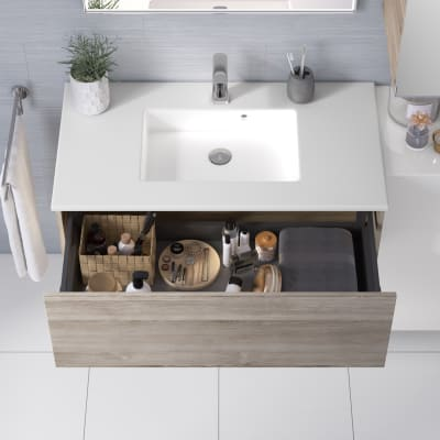 Mobile bagno Neo Line L 90 x P 48 x H 32 cm 1 cassetto rovere grigio