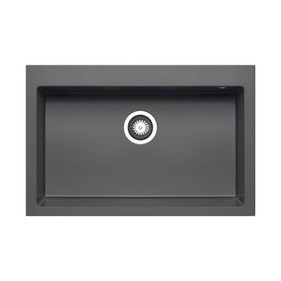 Lavello incasso Voyager grigio ferro L 76 x P  50 cm 1 vasca