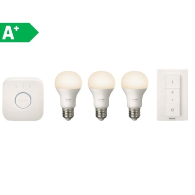 3 lampadine smart LED Philips Hue E27 =60W goccia luce calda 180°