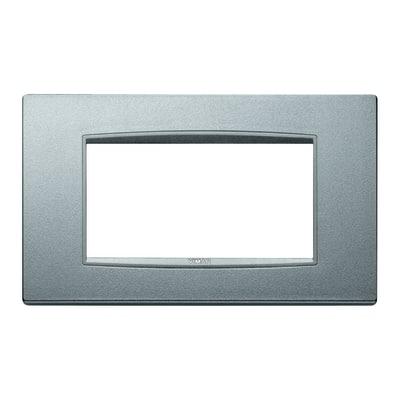 Placca 4 moduli Vimar Eikon Classic argento matt
