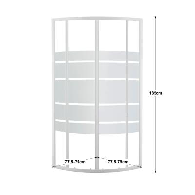 Box doccia scorrevole Nerea 77.5-79 x 77,5-79, H 185 cm cristallo 4 mm serigrafato/bianco lucido