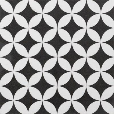 Piastrella Gatsby 20 x 20 cm bianco, nero