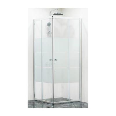 Box doccia scorrevole Dado 68-80 x 68-80, H 185 cm cristallo 5 mm stampato/silver