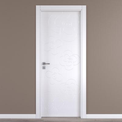 Porta da interno battente Flower white bianco 60 x H 210 cm dx