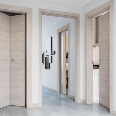 Porta da interno battente Resort Vetro Larice ghiaccio 60 x H 210 cm dx