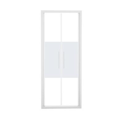 Porta doccia battente Record 77-81, H 195 cm vetro temperato 6 mm serigrafato/bianco opaco