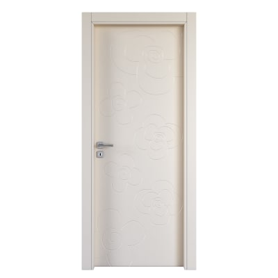Porta da interno battente Flower ivory avorio 80 x H 210 cm dx