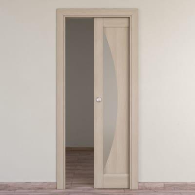 Porta da interno scorrevole Halfmoon paglia 60 x H 210 cm reversibile