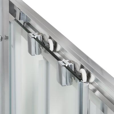 Doccia con porta scorrevole e lato fisso Quad 127.5 - 130,5 x 77.5 - 79 cm, H 190 cm cristallo 6 mm serigrafato/silver