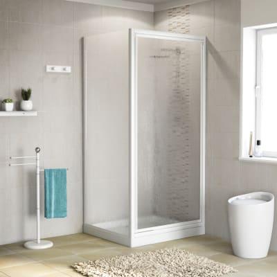 Doccia con porta battente e lato fisso Elba 83 - 87 x 78 - 82 cm, H 185 cm acrilico 3 mm stampato/bianco lucido