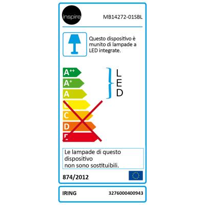 Faretto singolo Inspire Iring nero LED integrato