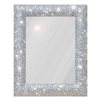 Specchio da parete rettangolare glitterata argento 62 x 82 for Parete bianca con glitter argento