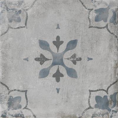 Piastrella Calvados dec 20 x 20 cm blu, grigio