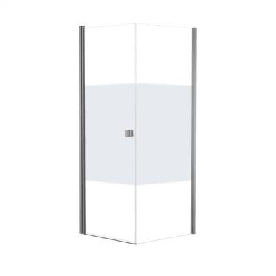 Doccia con porta battente e lato fisso Neo 99 - 101 x 77 - 79 cm, H 200 cm vetro temperato 6 mm serigrafato/bianco opaco