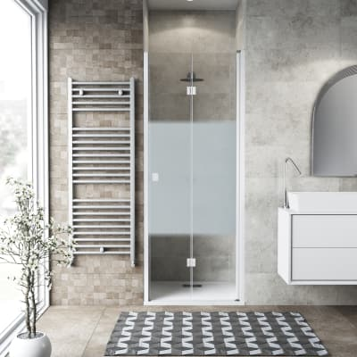 Porta doccia Neo 77-81, H 201,7 cm vetro temperato 6 mm serigrafato/bianco opaco