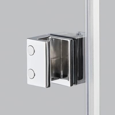 Doccia con porta battente e lato fisso Neo 97 - 99 x 77 - 79 cm, H 200 cm vetro temperato 6 mm fumè/silver