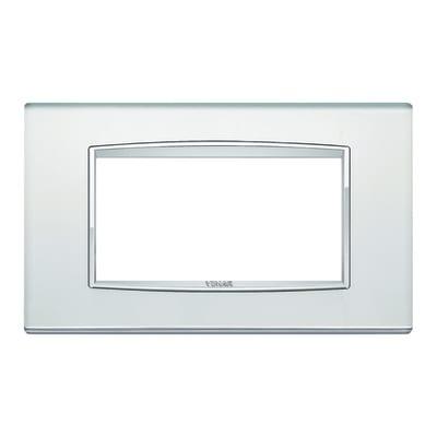 Placca 4 moduli Vimar Eikon Classic argento mirror
