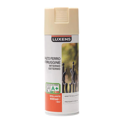 Smalto per ferro antiruggine spray Luxens avorio RAL 1015 brillante 0,4 L