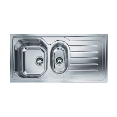 Lavello incasso Onda Line L 100 x P  50 cm 1 vasca 1/2 SX + gocciolatoio