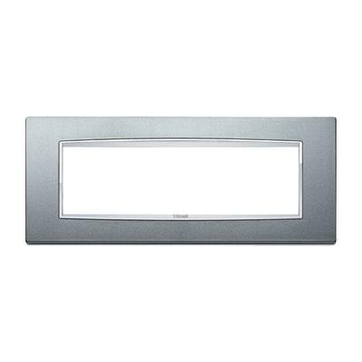 Placca 7 moduli Vimar Eikon argento matt