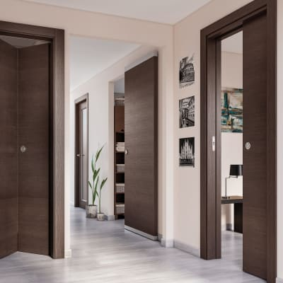 Porta da interno scorrevole Timber Fumo 70 x H 210 cm reversibile
