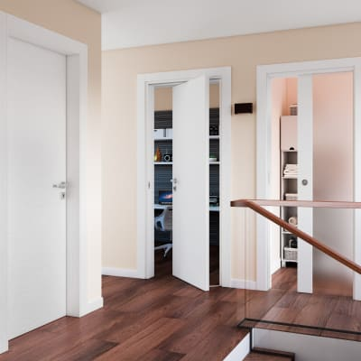 Porta da interno battente Plaza Vetro frassino bianco 60 x H 210 cm dx
