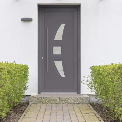 portoncino d'ingresso PVC Modern3 grigio L 90 x H 210 dx