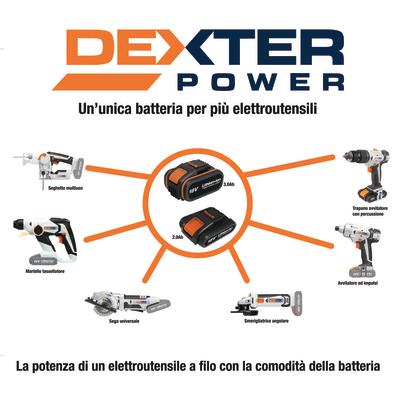 Trapano avvitatore a batteria con percussione DEXTER POWER , 18 V, 2 Ah, 2 batterie