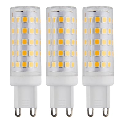 Lampadina LED G9, Capsula, Trasparente, Bianco caldo, 6W=630LM (equiv 50 W), 360° , set di 3 pezzi