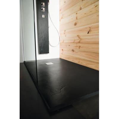 Piatto doccia ultrasottile resina Pizarra 100 x 150 cm nero ...