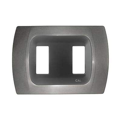 Placca CAL Click-Laser 2 moduli antracite metallizzato
