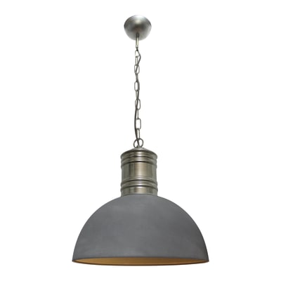 Lampadario Industriale Frieda grigio in metallo, D. 41 cm, BRILLIANT