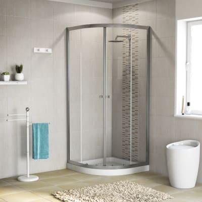 Box doccia stondato scorrevole Dado 90 x 90 cm, H 185 cm in alluminio e vetro, spessore 5 mm trasparente cromato