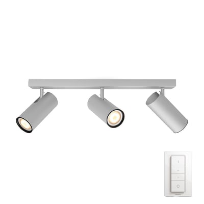Barra di faretti Buratto nickel, in metallo, GU10 3x10W IP20 PHILIPS HUE