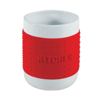 Porta posate in ceramica rosso 12 x 14 x 12 cm