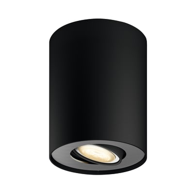 Faretto singolo Pillar nero, in metallo, LED integrato 5.5W 250LM IP20 PHILIPS HUE