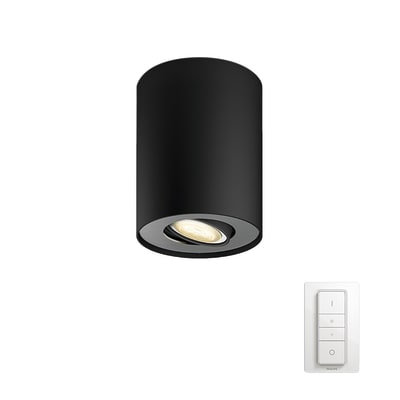 Faretto singolo Pillar nero, in metallo, LED integrato 50W 250LM IP20 PHILIPS HUE