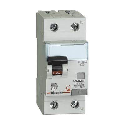 Interruttore magnetotermico differenziale BTICINO GC8813AC32 1 polo 32A 4.5kA A 2 moduli 230V