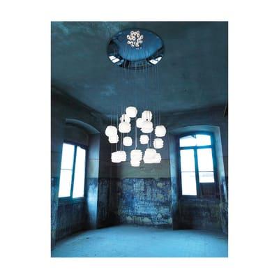 Lampadario bianco in metallo , D. 60 cm, 20 luci SFORZIN