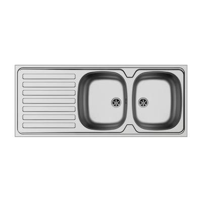 Lavello sovrapposto da appoggio Dioniso 120 x 50 cm 2 vasche con gocciolatoio