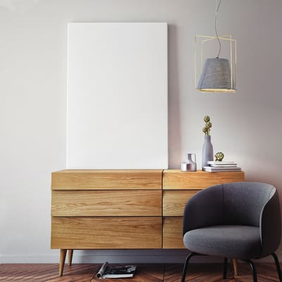Lampadario Kengo grigio, in tessuto, diam. 26 cm, E27 MAX40W IP20 SFORZIN