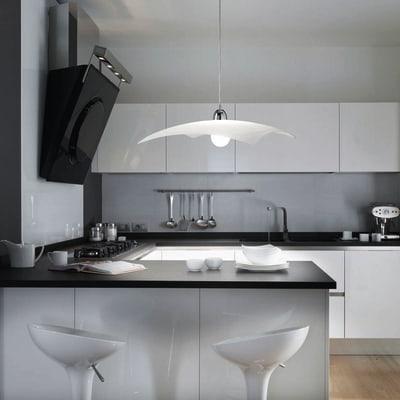 Lampadario Lynn bianco, in metallo, diam. 10 cm, E27 MAX75W IP20
