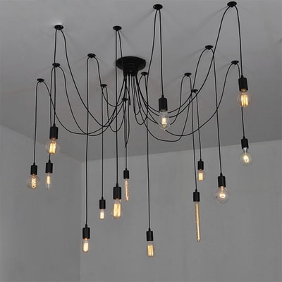 Lampadario Wire nero, in metallo, diam. 140 cm, E27 14x100W IP20