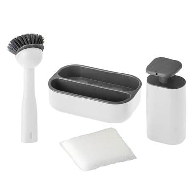 Dispenser sapone con supporto spugna bianco L 22.5 x H 8.5 x P 22.5 cm
